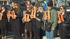 Protestujący nauczyciele na pl. Narutowicza